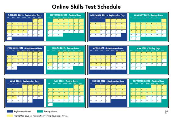 Certification - Online Skills Test Schedule