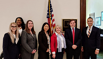 NCRA members with Sen. Kaine's Legislative Correspondent Evan McWalters and Legislative Counsel Phillip Olaya